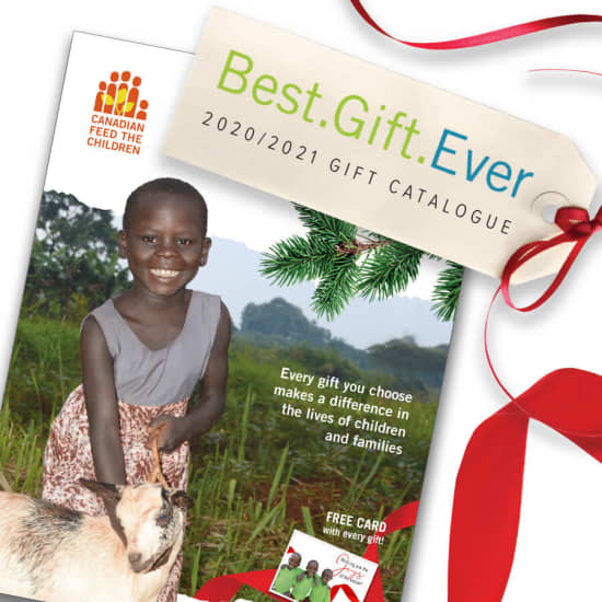 The cover page of the 2020/2021 Best Gift Ever Catalogue featuring Abiriya holding a goat
