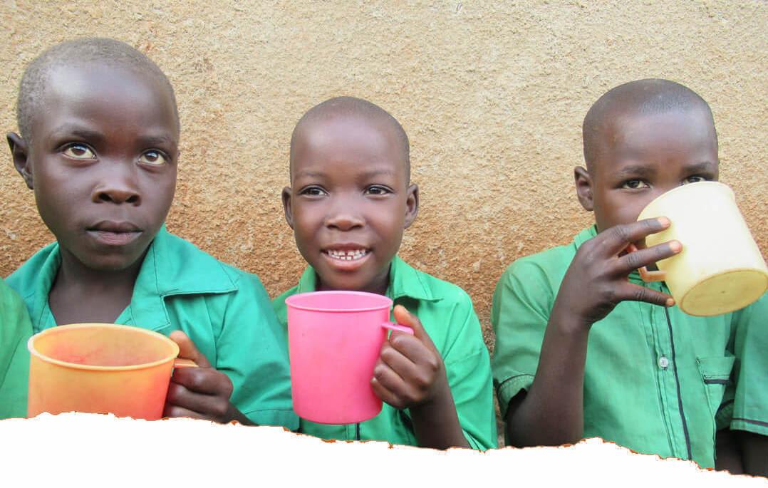 African school children having lunch