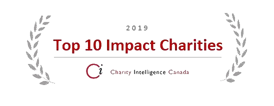2019 Top 10 Impact Charities as awarded by Charity Intelligence Canada