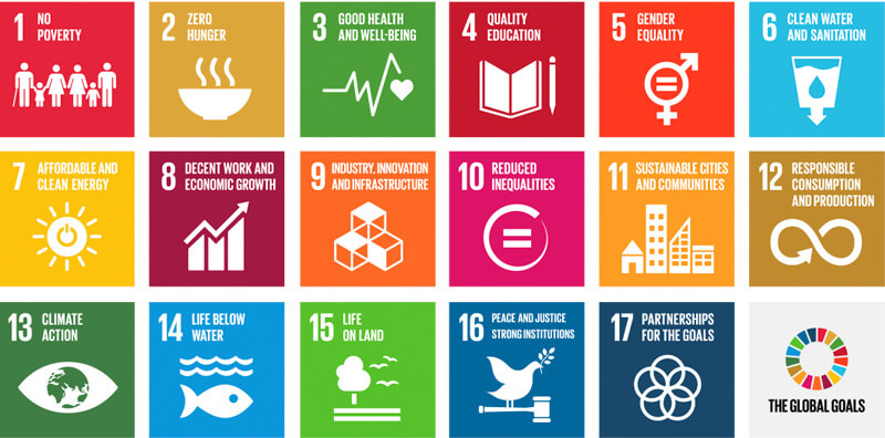 List of the 17 global goals including no poverty, zero hunger, good health and well-being, quality education, gender equality, clean water and sanitation, etc