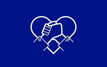Illustration två händer framför ett hjärta för insamling