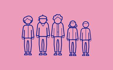 Illustration av tre generationer tecknade personer