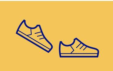 Illustration av två skor i rörelse