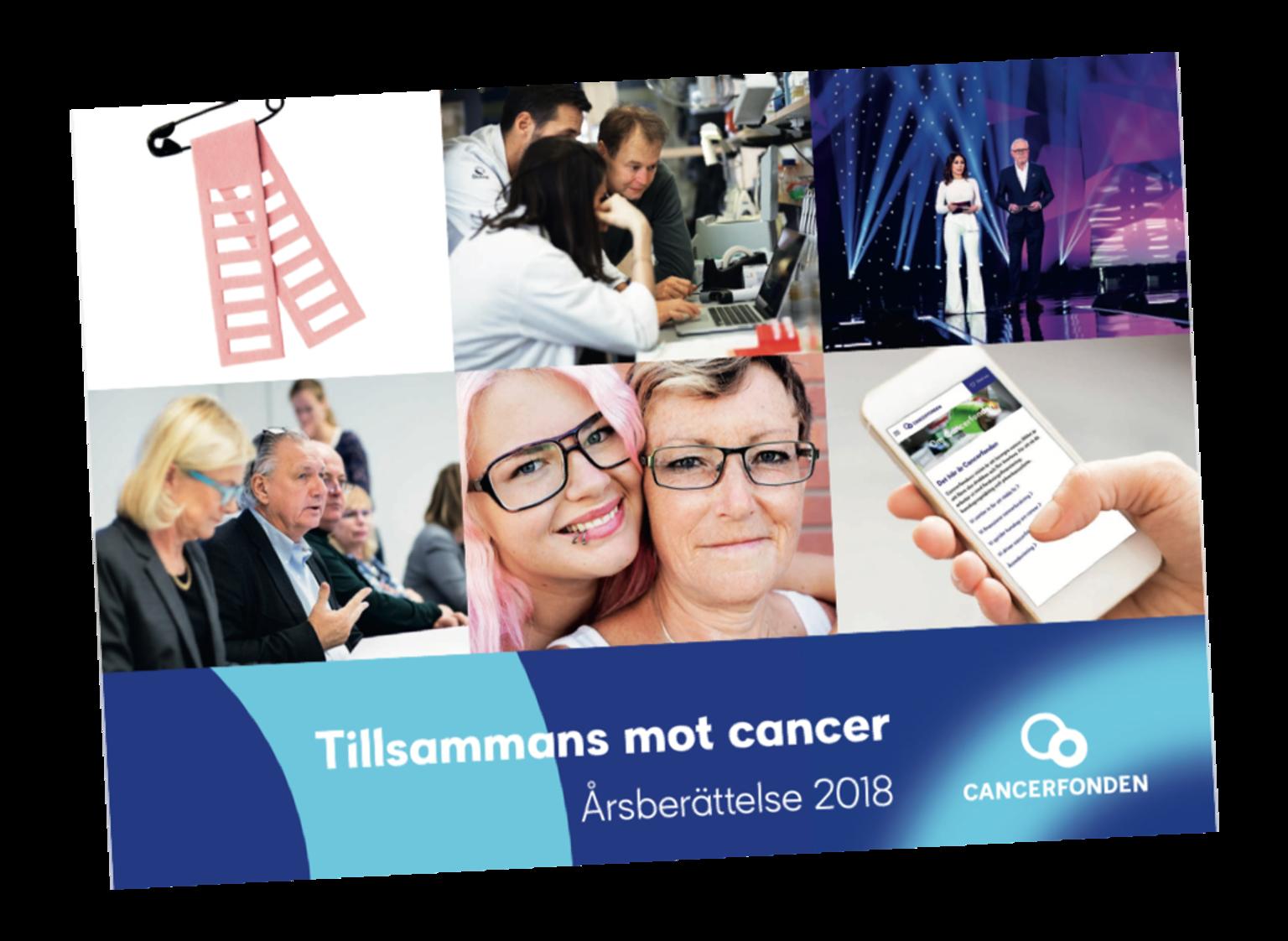 Omslaget på Cancerfondens Årsberättelsen 2018