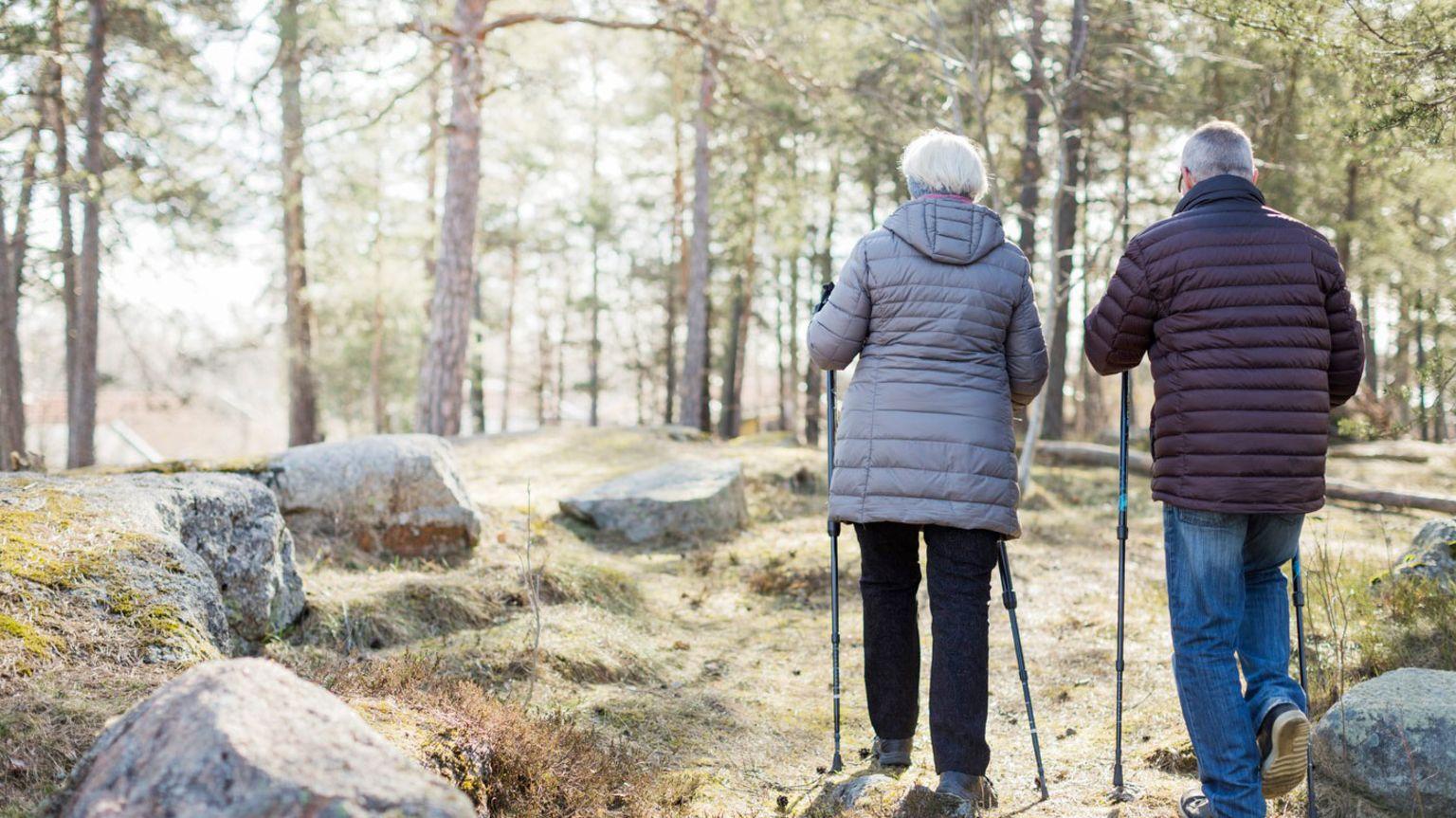 En äldre man och kvinna går bredvid varandra med stavar i skogen.