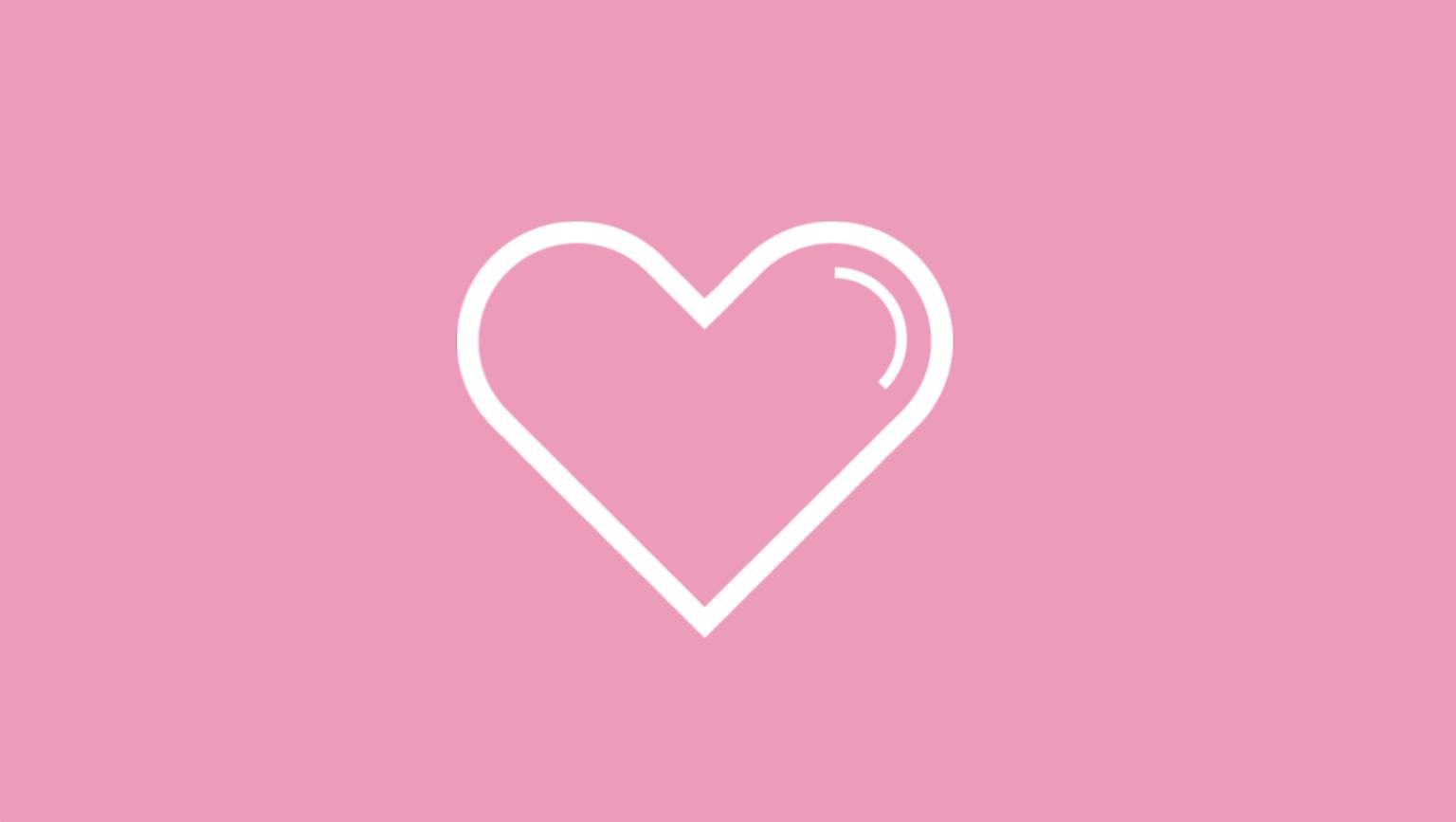 Vitt hjärta på rosa bakgrund som symboliserar Rosa Bandet-kampanjen.
