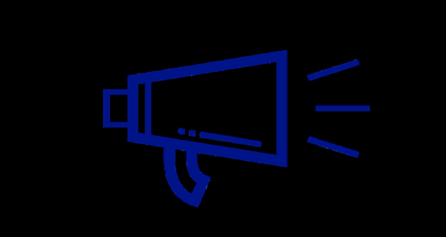 Illustration av megafon som uppmanar till att sprida information om bröstcancer.