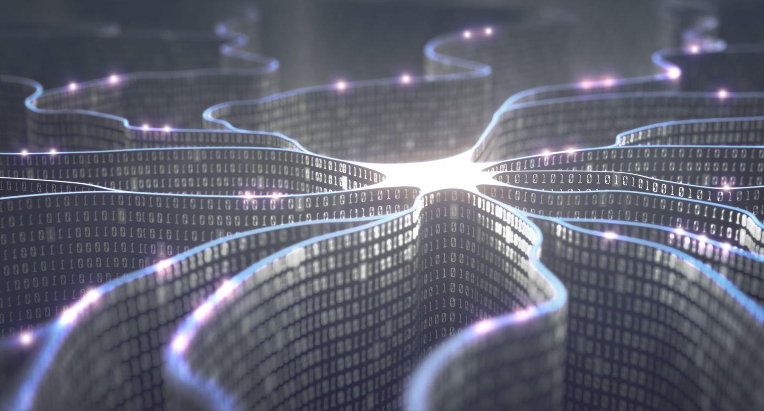 Ettor och nollor bildar ett neuronalt nätverk.