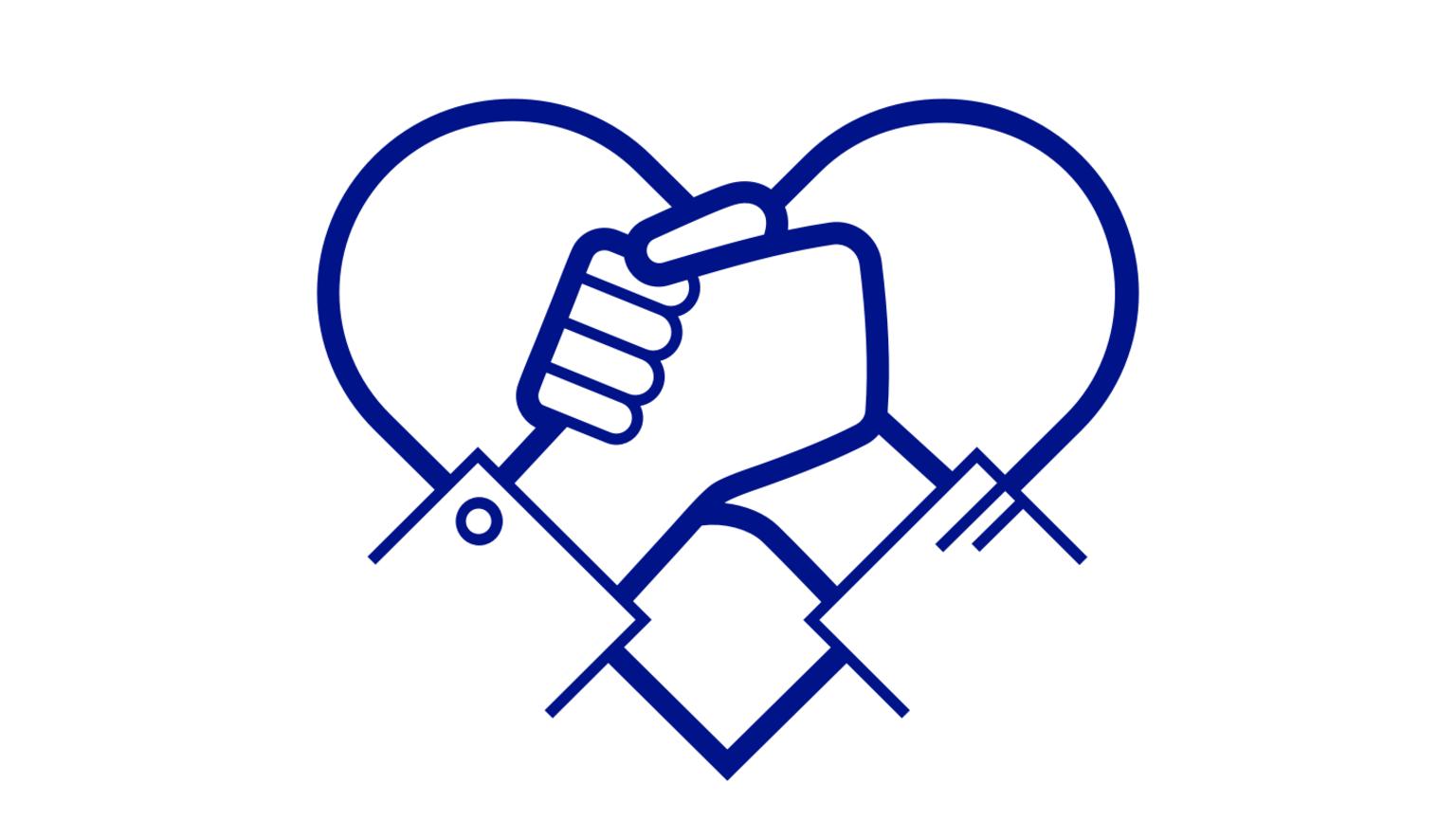Illustration av två händer som håller i varandra framför ett stiliserat hjärta.