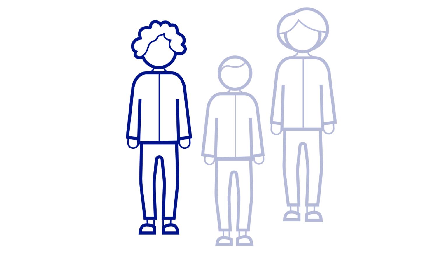 Illustration av tre personer där en av personerna är tonad i färgen för att särskilja sig från de andra två.