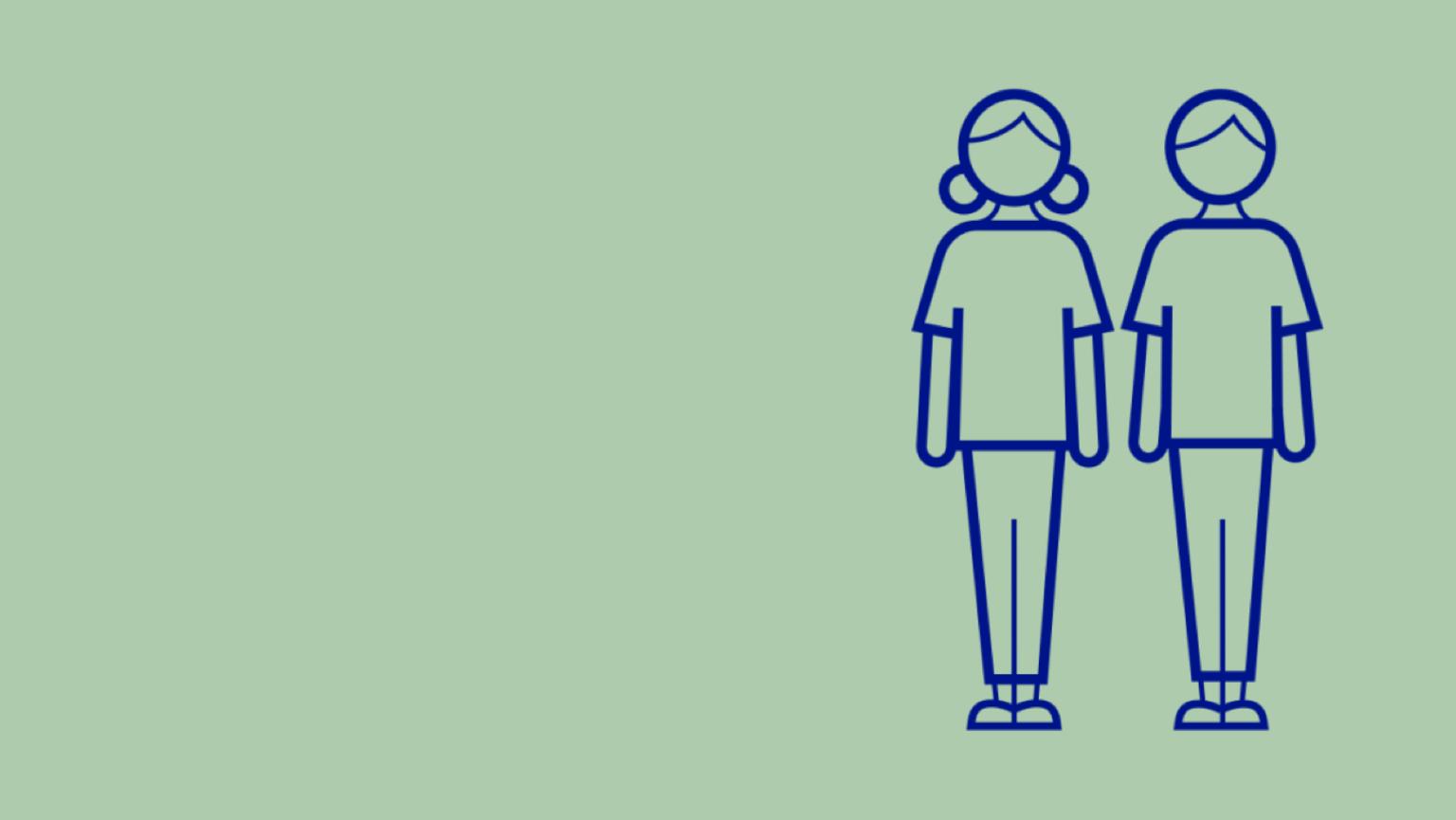 Illustration av två personer som står väldigt nära varandra till vänster i bild.