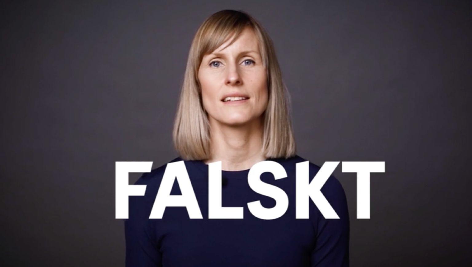 """Porträtt på Cancerfondens Maiju Wetterfall med ordet """"Falskt"""" skrivet över bilden."""