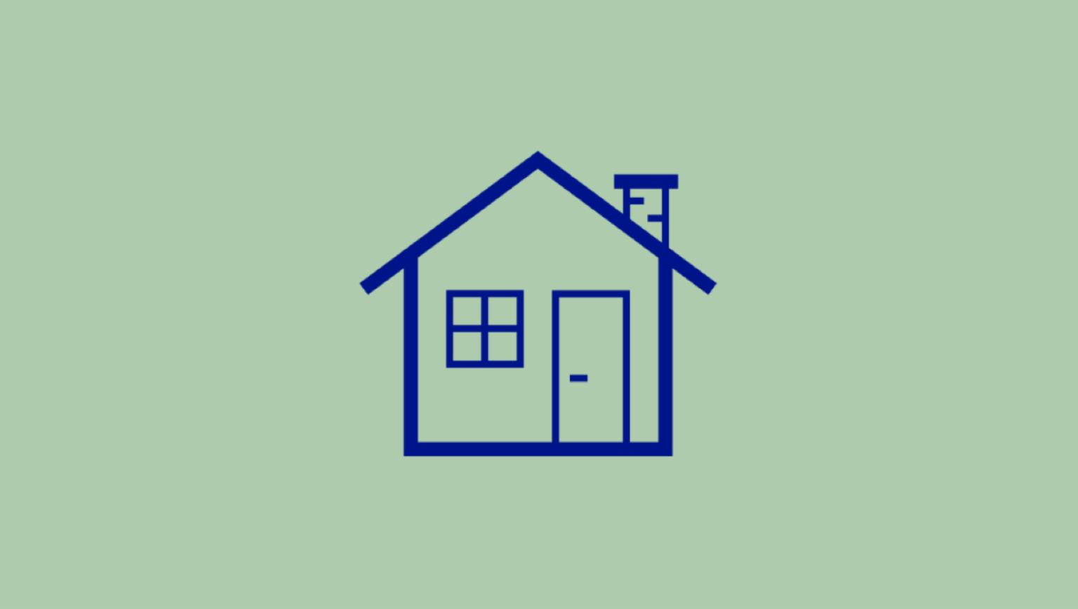 Illustration av ett hus som symboliserar radon i husgrund.