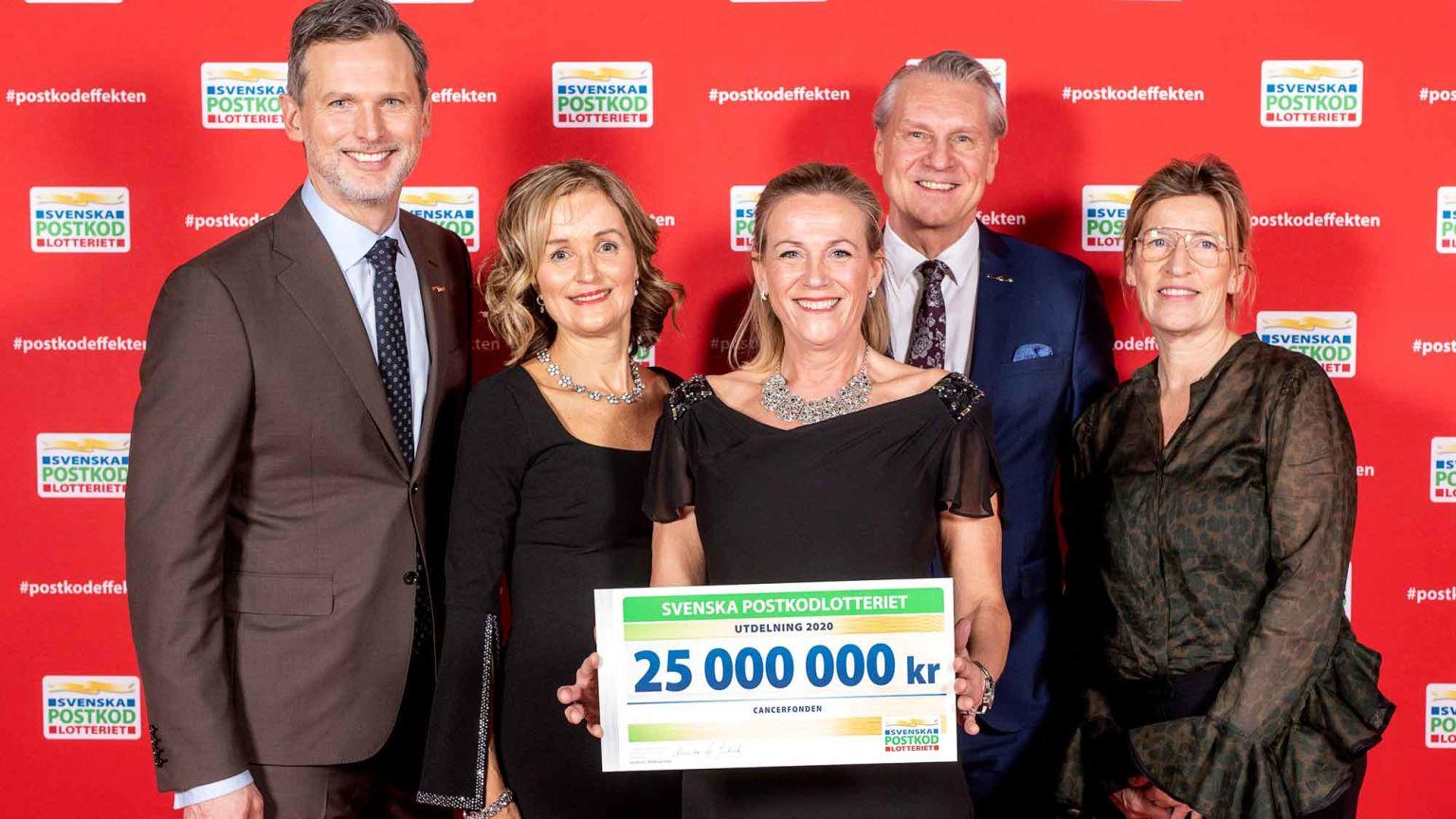 Medarbetare från Postkodlotteriet och Cancerfonden firar utdelning av medel från lottförsäljningen.
