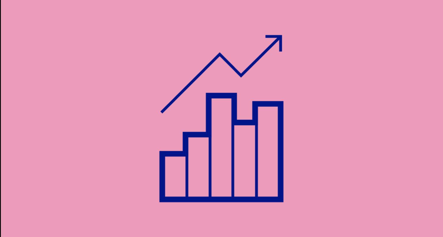 Illustration av en grafisk kurva som pekar uppåt