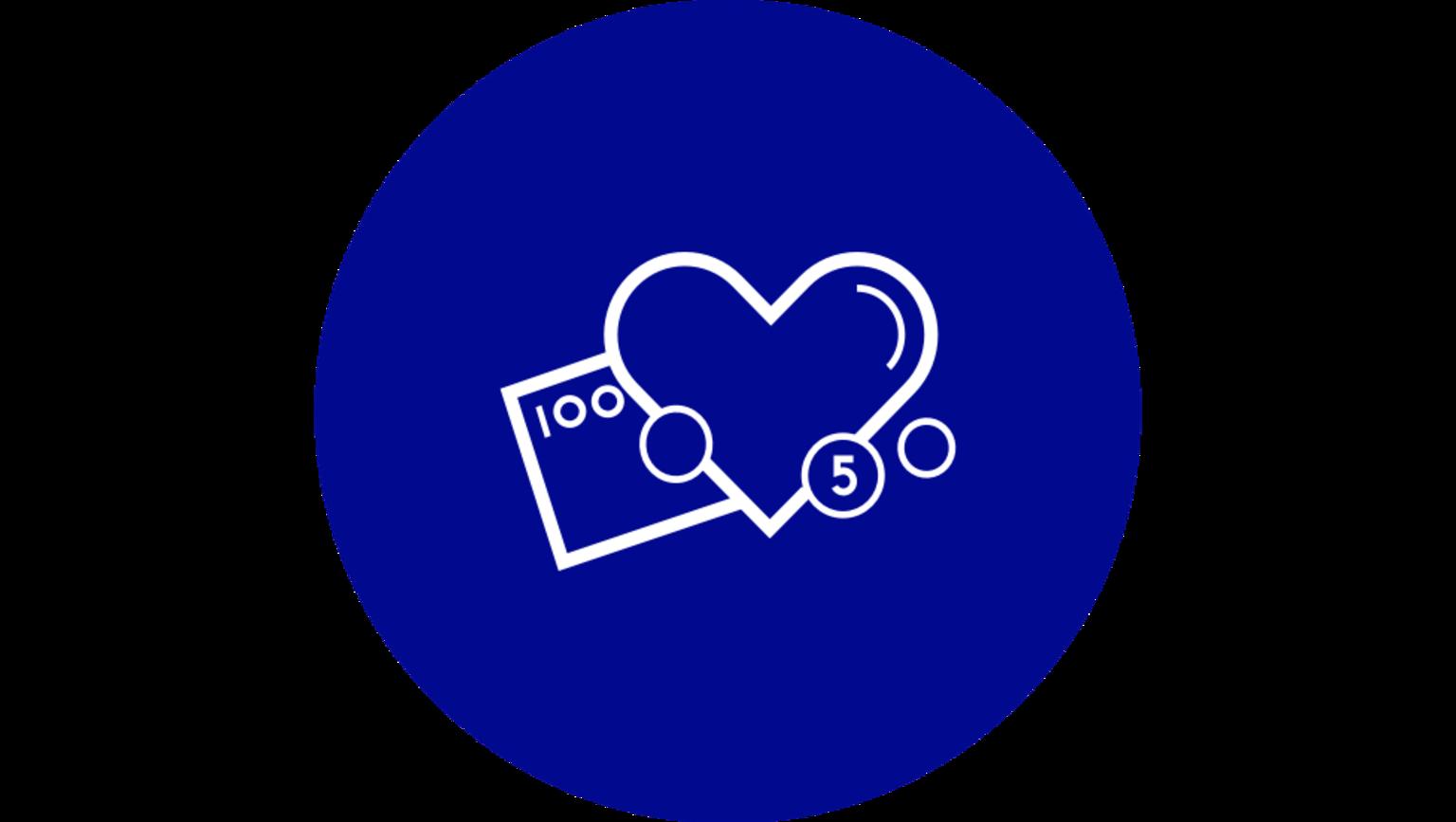 En illustration på pengar och ett hjärta