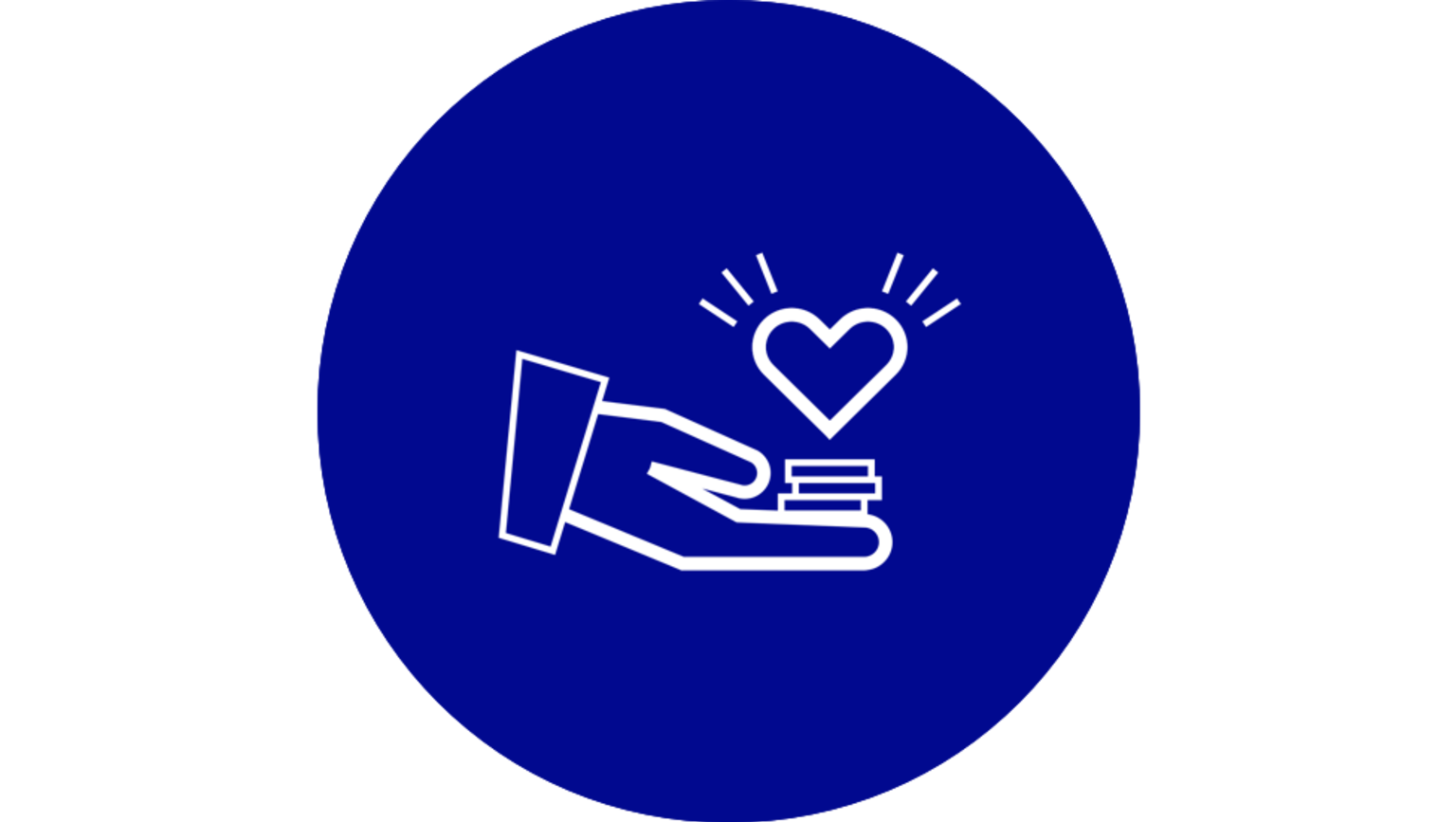 Illustration av en hand med pengar och ett hjärta