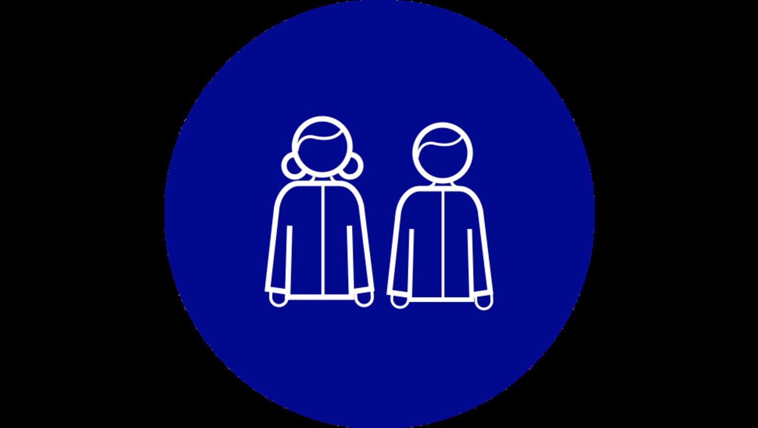 En illustration av två personer som visar att två personer kan bevittna ett testamente