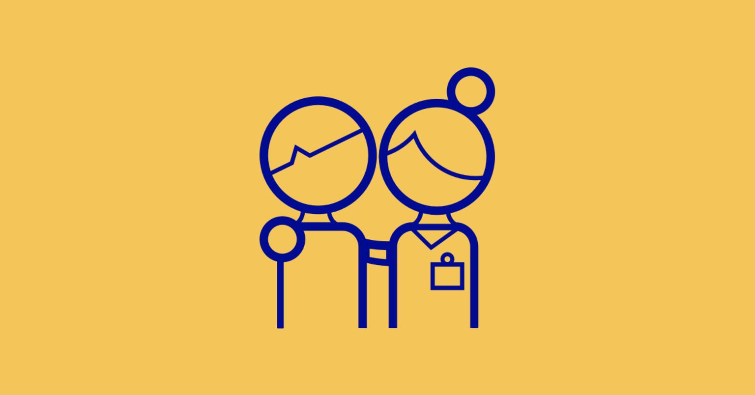 Illustration läkare och patient