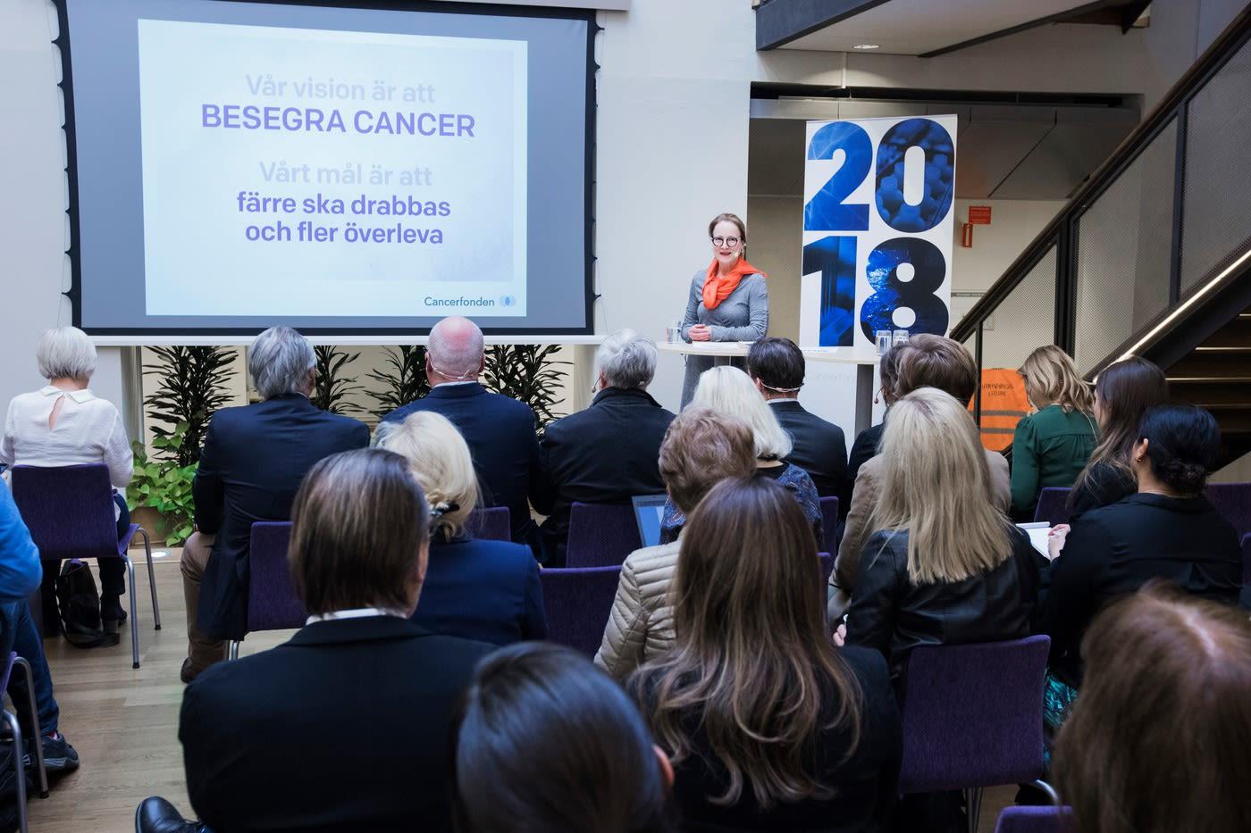 Publik under seminariet för Cancerfondsrapporten.