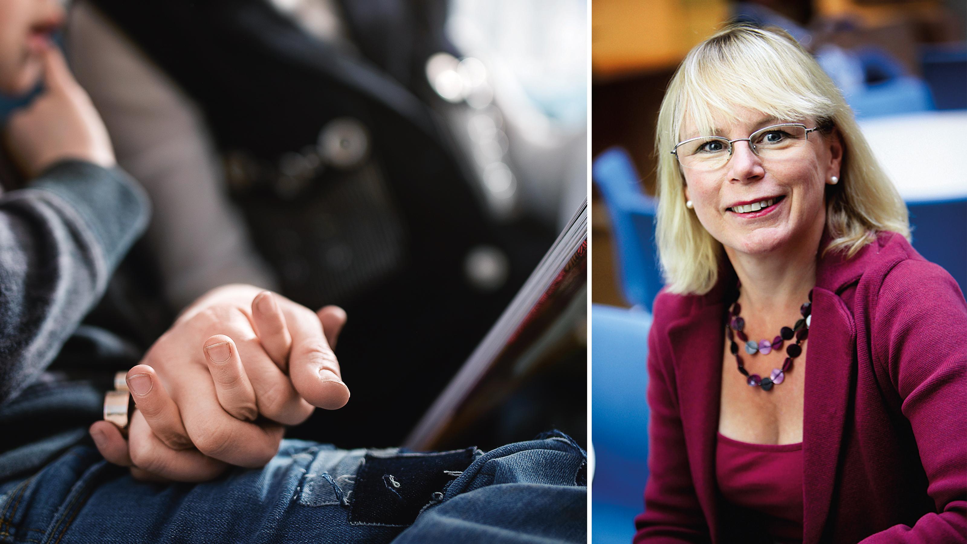 Vänstra bilden: En vuxen persons hand håller ett barns hand. Högra bilden: porträtt på Yvonne Brandberg.