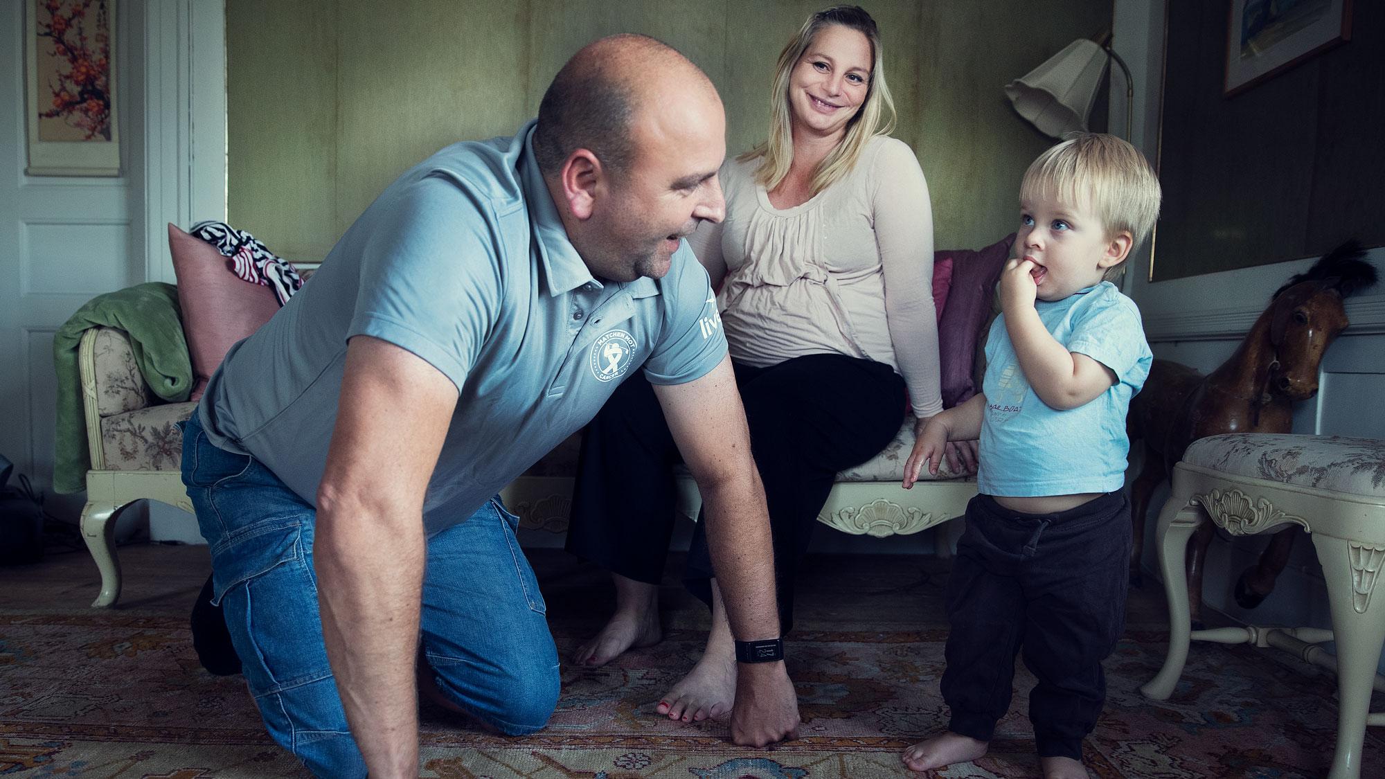 Johan med sin fru Elin och son Oskar