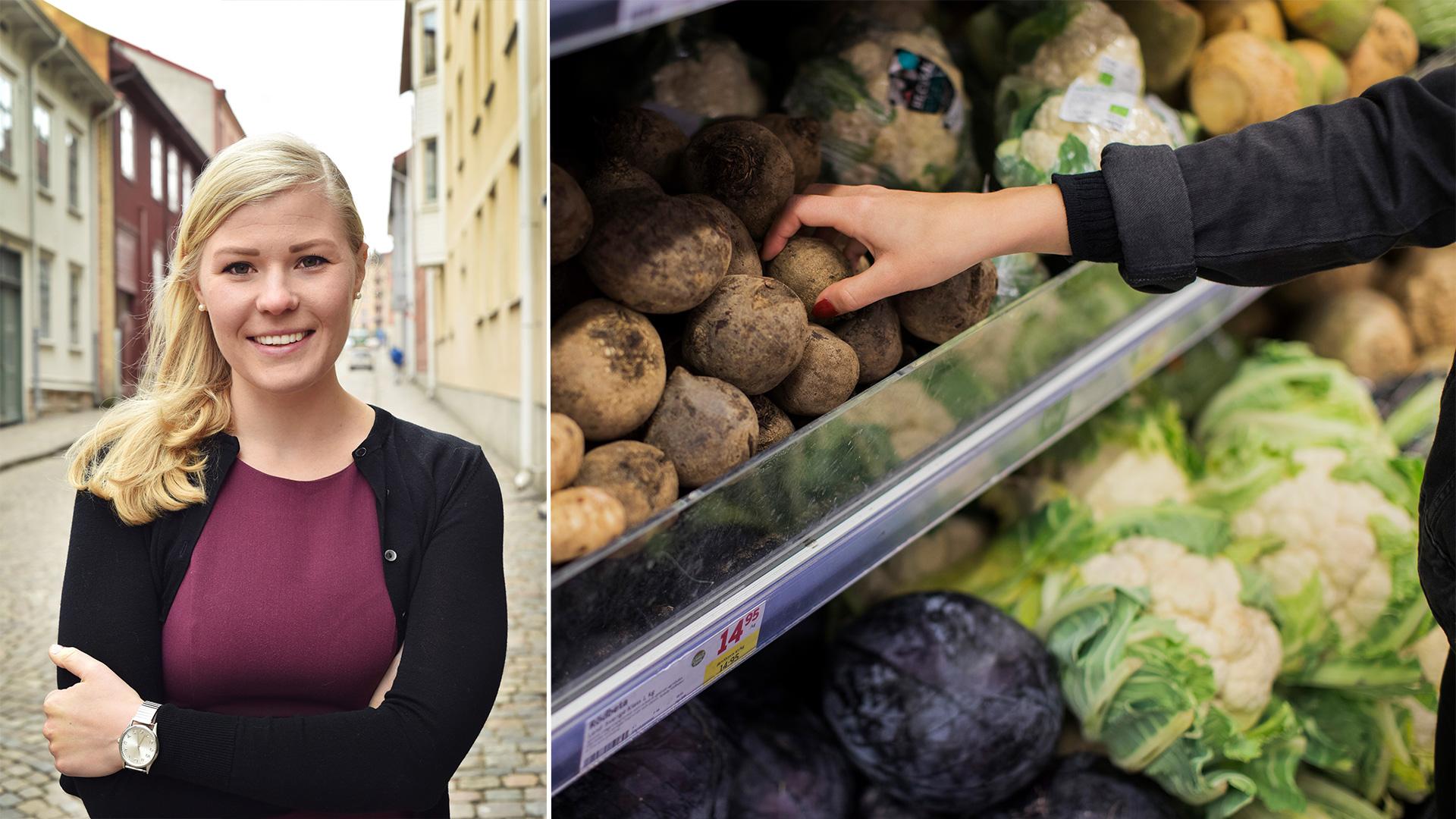Vänster: Dietisten Charlotta Rubin. Höger: En person som plockar grönsaker i en grönsaksdisk