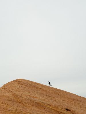 Man running in hills