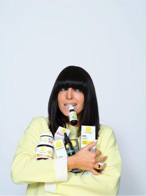 Claudia Winkleman with Cannaray CBD range