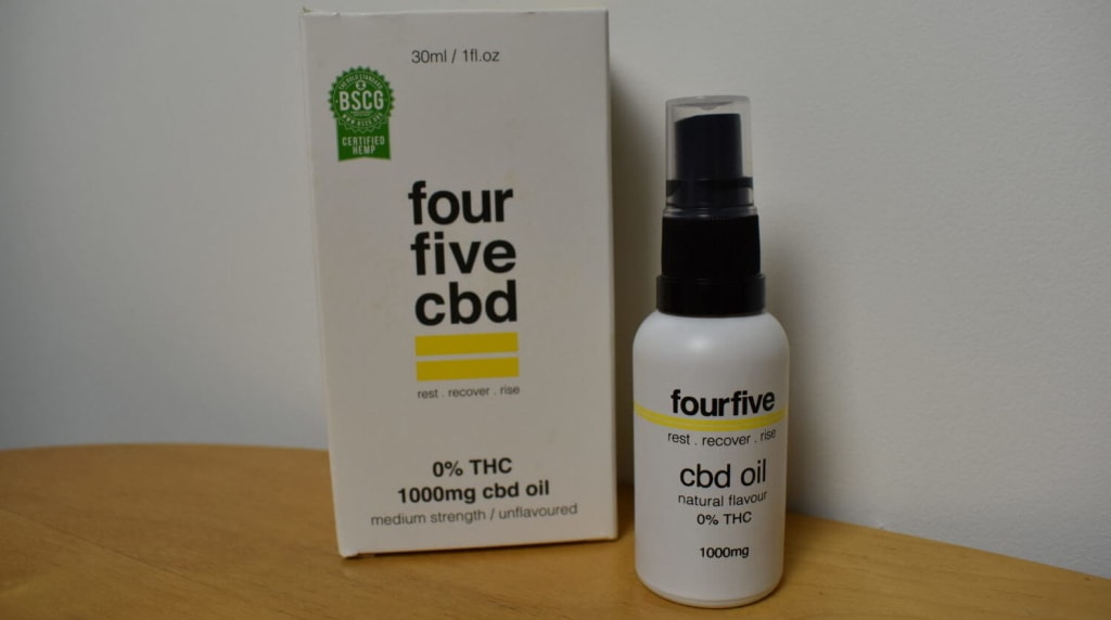 fourfivecbd 0% THC 1000mg CBD Oil is designed for athletes