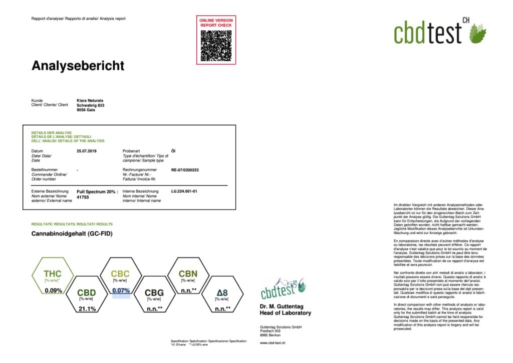 Kiara CBD oil Full Spectrum 20% - Third Party Lab Results