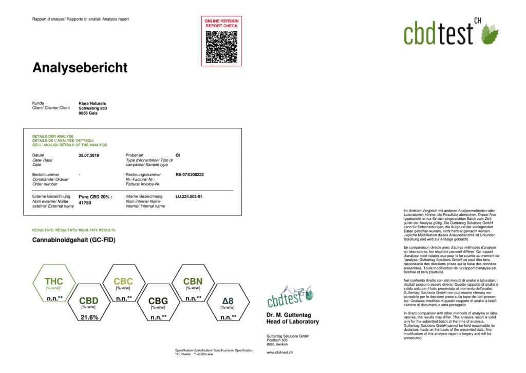 Kiara CBD Isolate Oil Pure CBD 20% - Third Party Lab Results