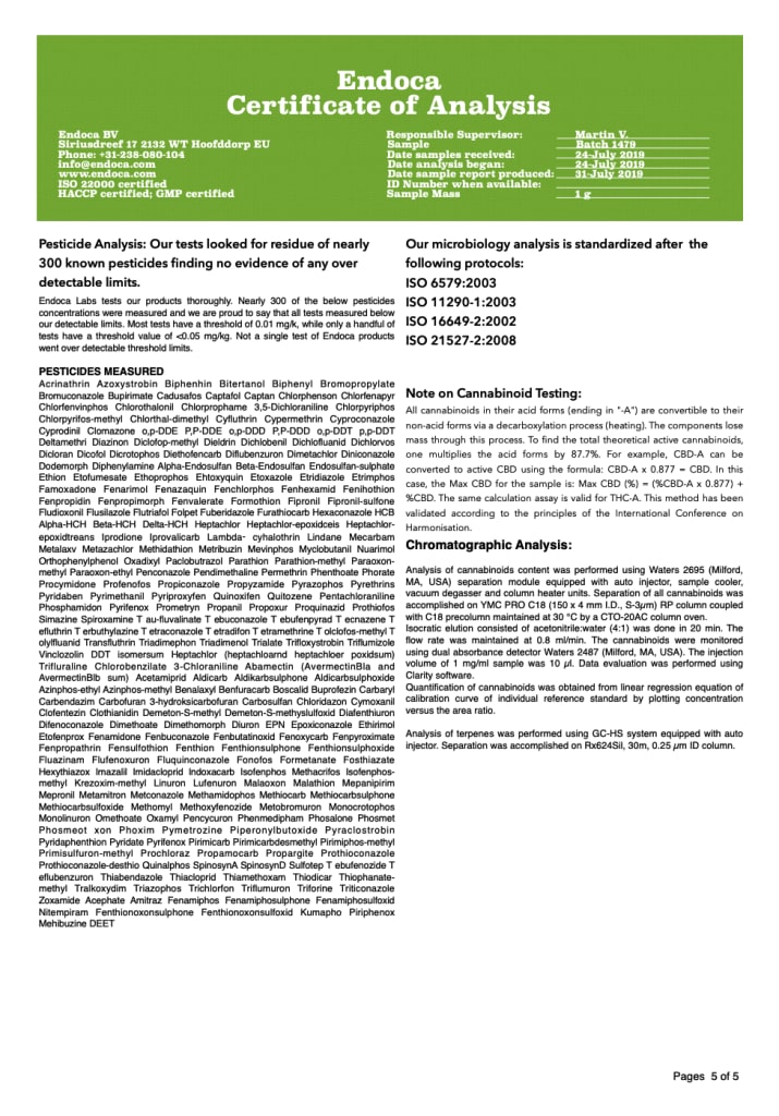 Endoca batch number 1479 - lab result 5/5