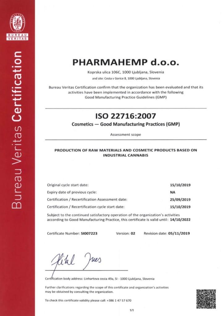 The GMP certification of PharmaHemp