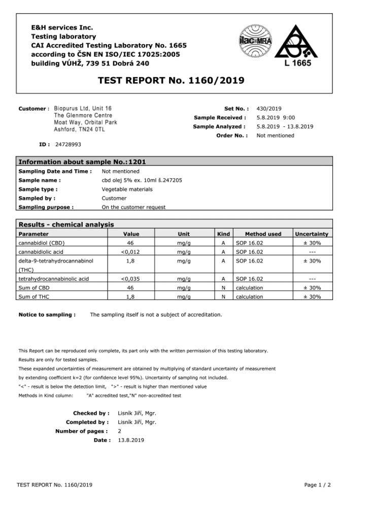 COA - Biopurus UK 500mg 5% CBD Oil third party lab results - 1/2