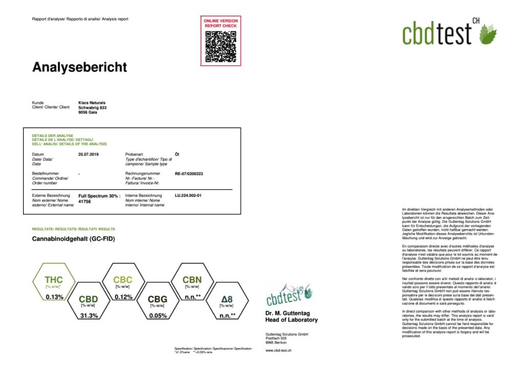 Kiara CBD oil Full Spectrum 30% - Third Party Lab Results