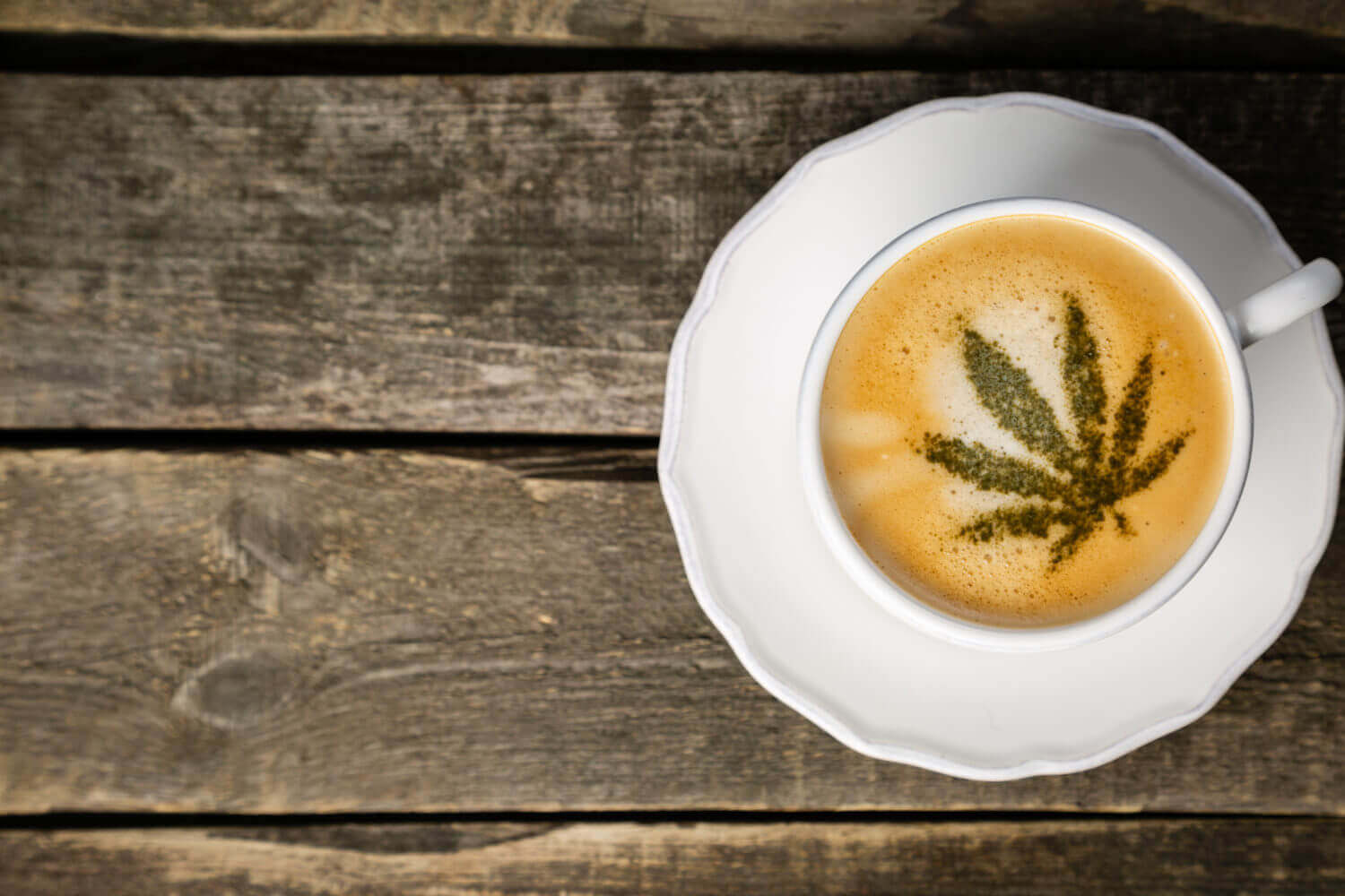 Weed leaf in a coffee cup