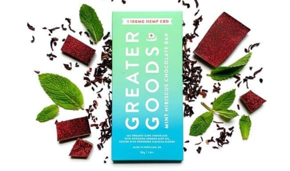 Greater Goods Mint Hibiscus Chocolate Bar with CBD