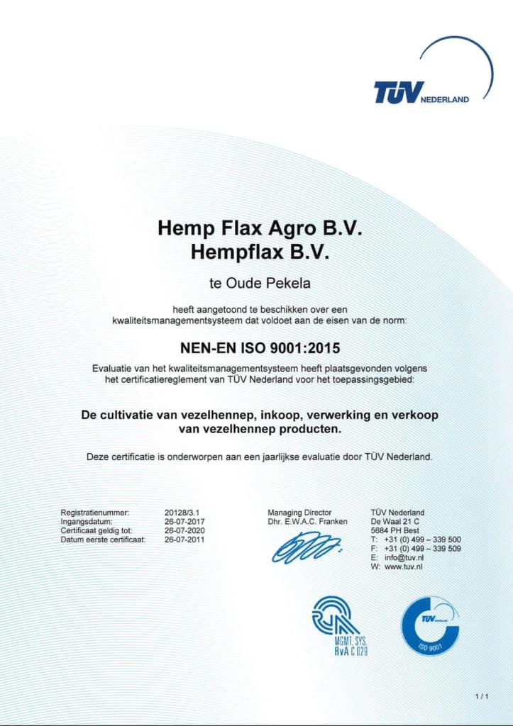 Sensi Seeds ISO-9001-2015 certification