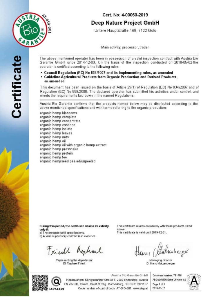 Medihemp's Bio Certificate - Austria Bio Warranty GmbH (AT-BIO-301)