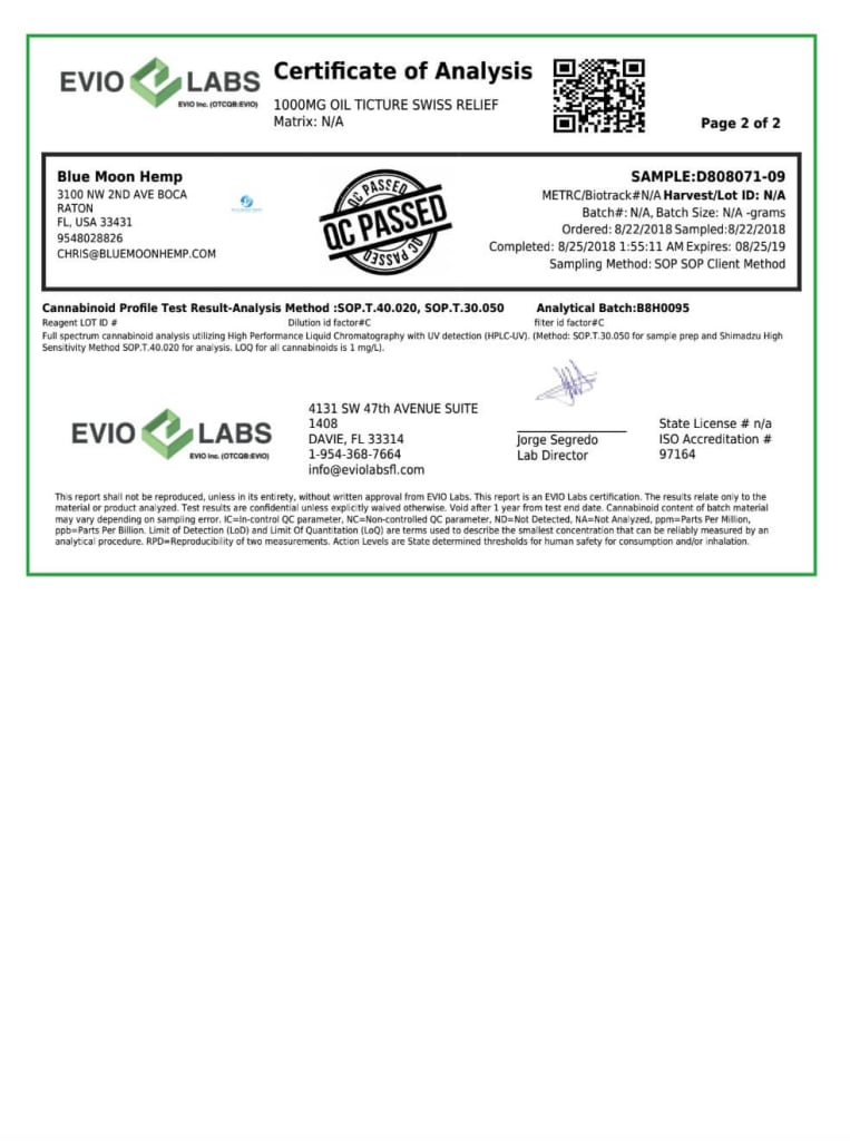 Swiss Relief Pure 1000mg CBD Oil - Third party - certificate of analysis -2/2