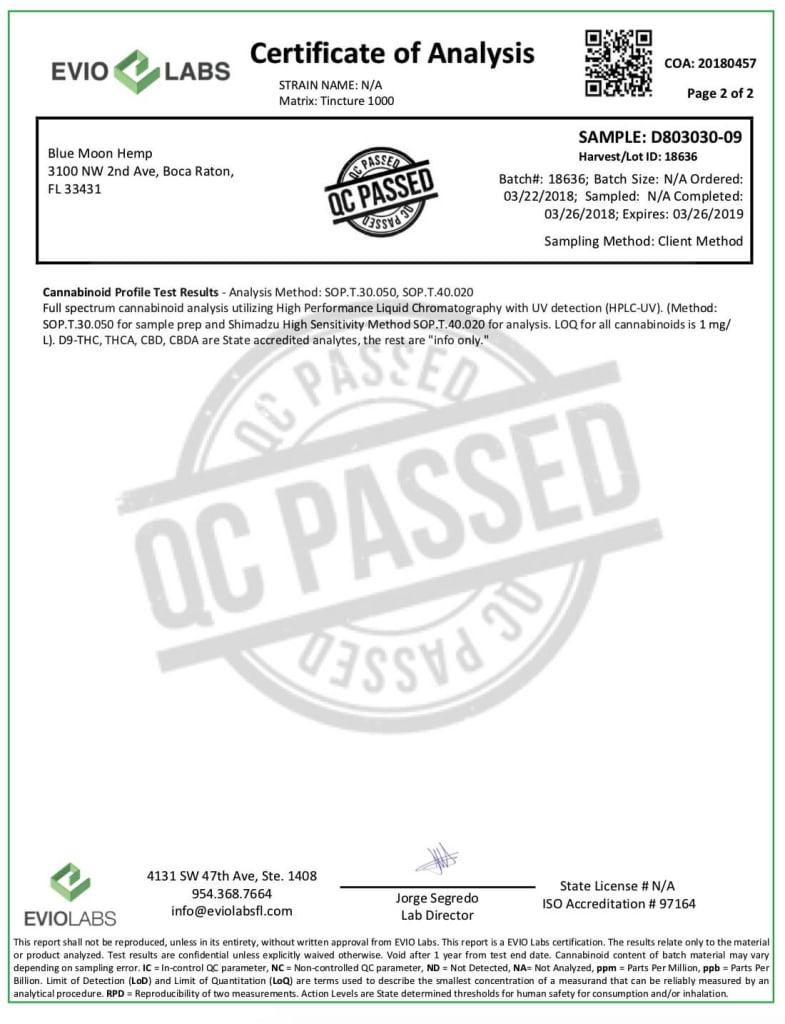 TruBlu 1000 mg Berry CBD Tincture - third party - certificate of analysis -2/2
