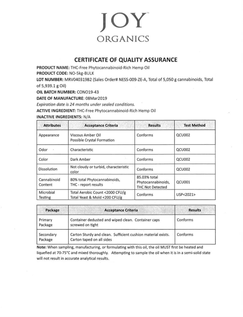 Joy Organics Premium-Hemp-Serene-Orchard-Gummies -COA- Lab Results for Lot 0325191 2/7