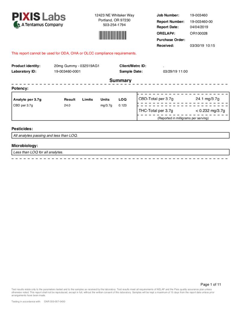 Joy Organics Premium-Hemp-Serene-Orchard-Gummies -COA- Lab Results for Lot 0325191 4/7