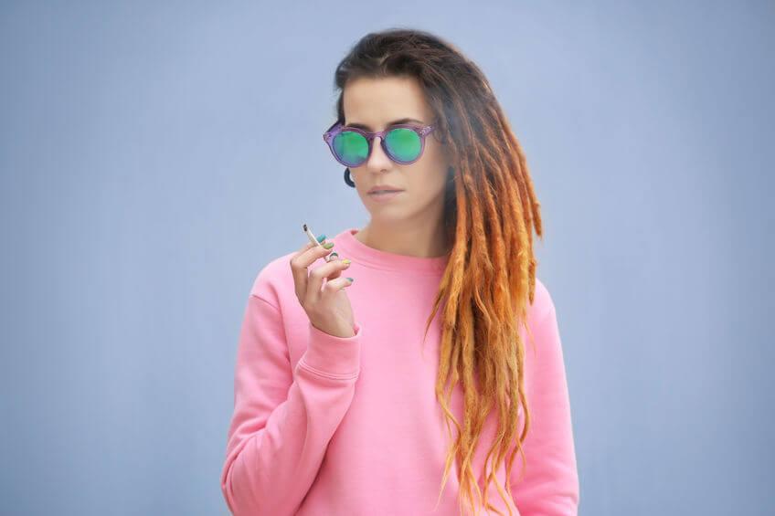 young girl smoking hemp