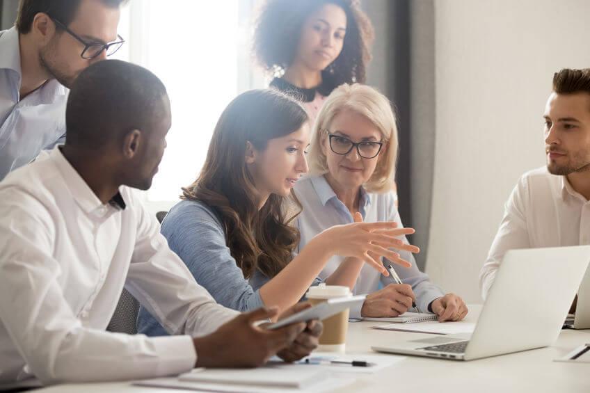 People talking in a workplace