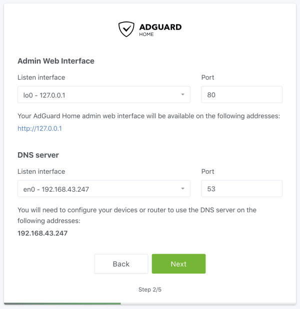 AdGuard wizard screen