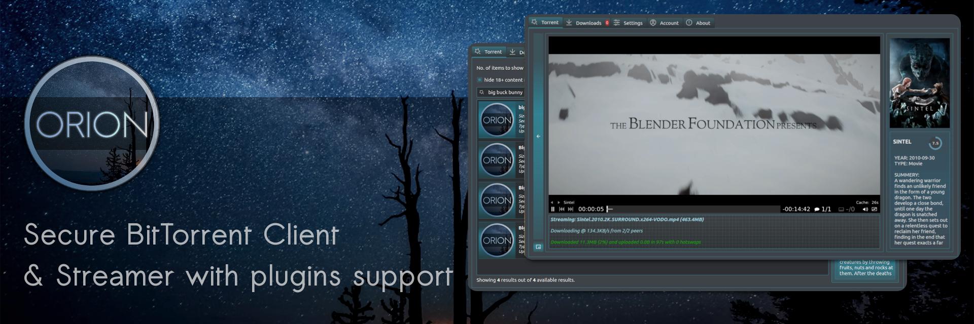 Orion - BitTorrent Client & Streamer banner