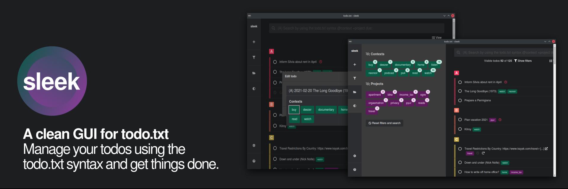 sleek - Todo.txt app for Linux banner