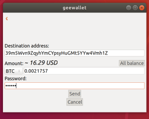 geewallet screenshot